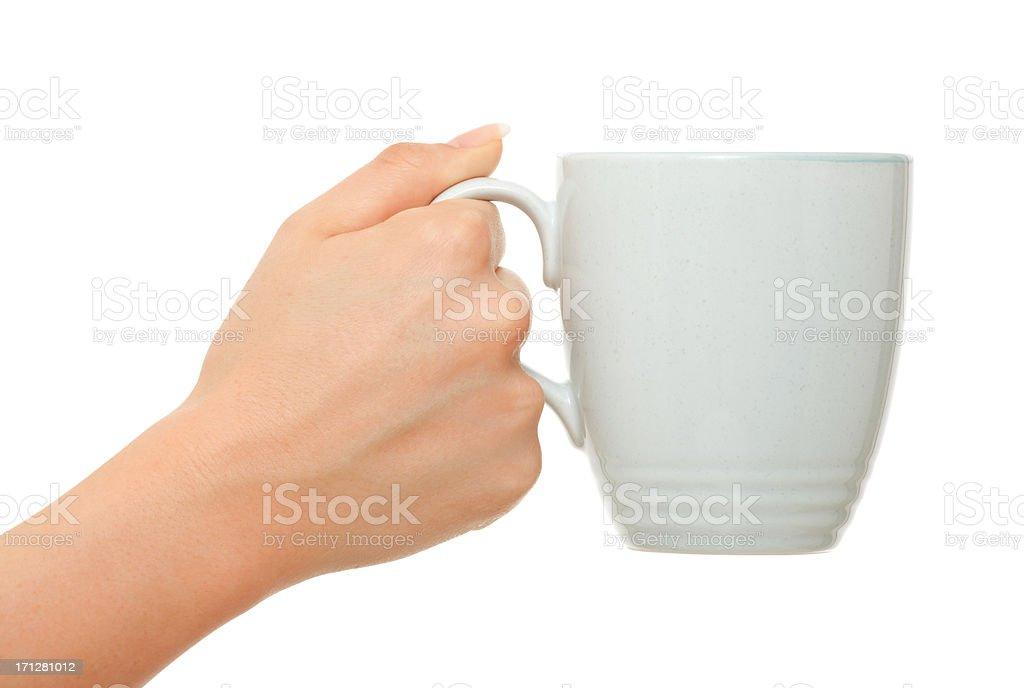 Woman hands holding coffee mug on white stock photo