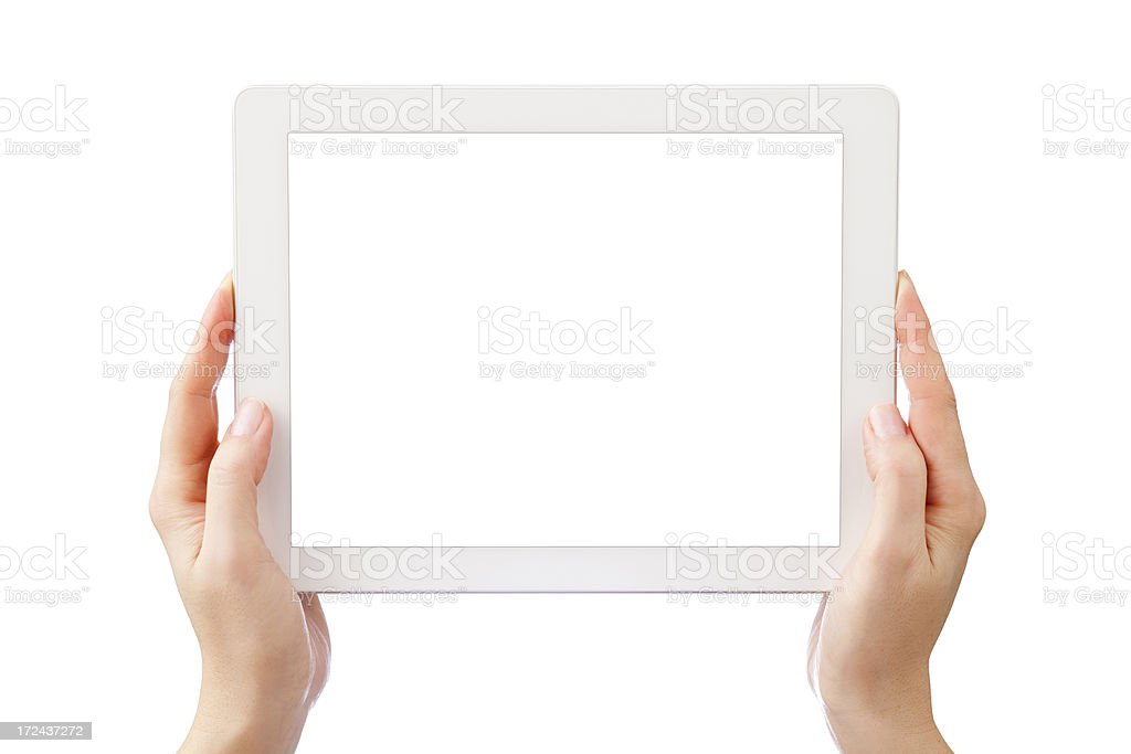 Woman Hands Holding Digital Tablet royalty-free stock photo
