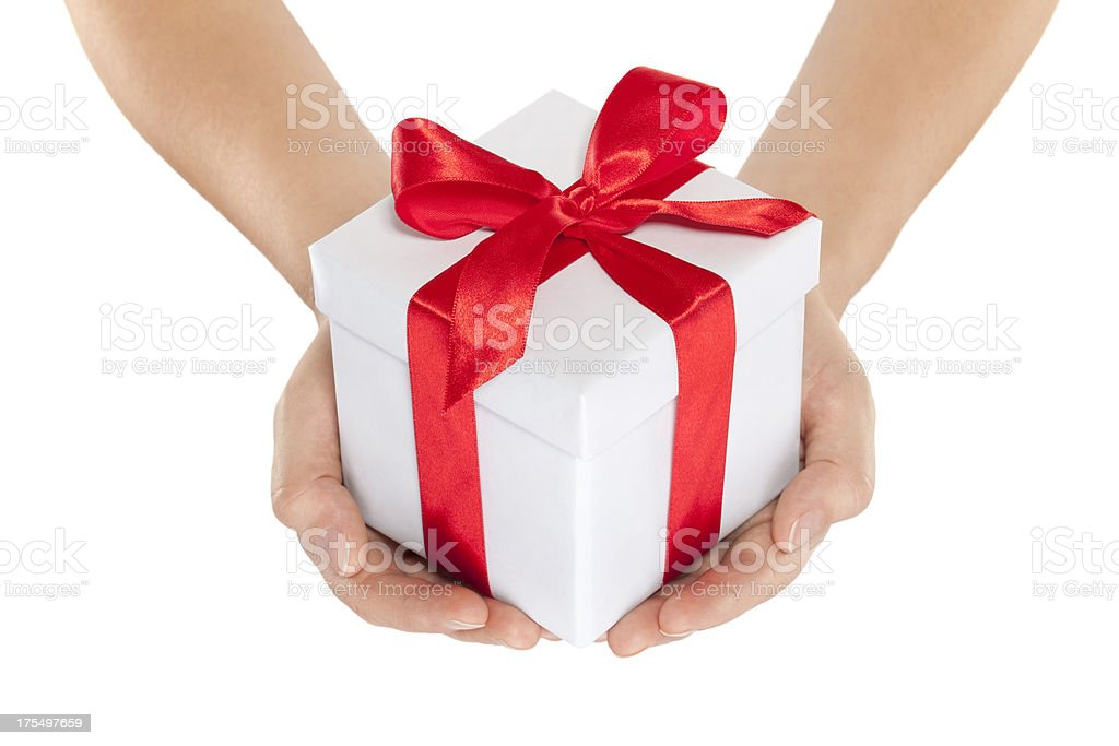 Woman hands holding gift royalty-free stock photo