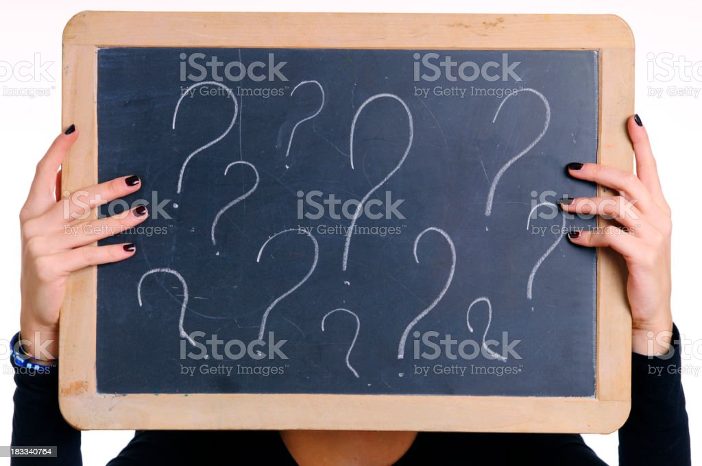 Woman Hands Holding Question Marks Blackboard In Front Of Face royalty-free stock photo