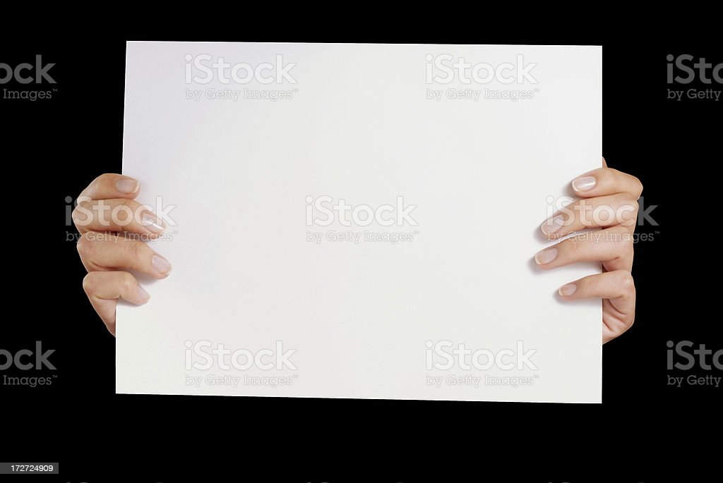 Woman hands holding white paper sheet royalty-free stock photo