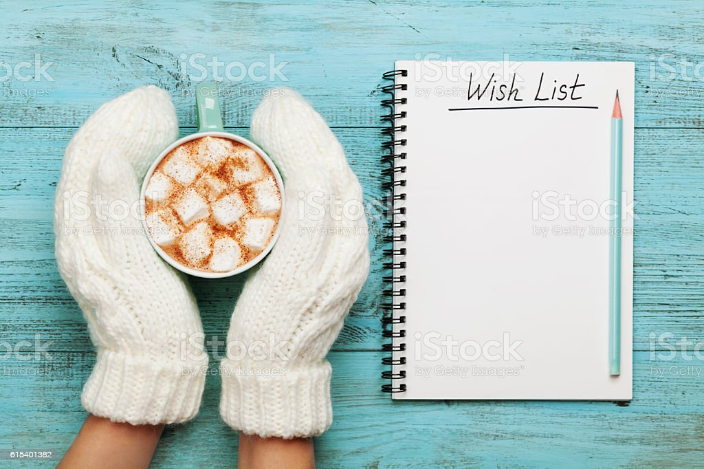 Woman hands in mittens holding cocoa. Christmas planning concept. stock photo