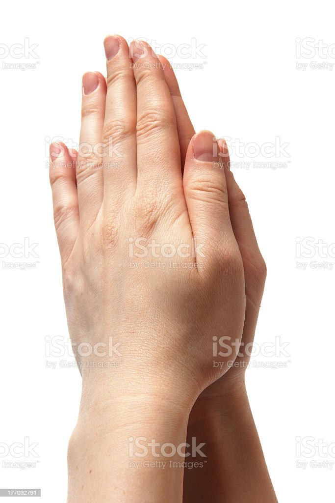 woman hands together symbolizing prayer and gratitude royalty-free stock photo