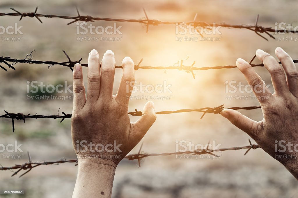 Woman hands touch a rusty wire imprison, Human rights violations stock photo