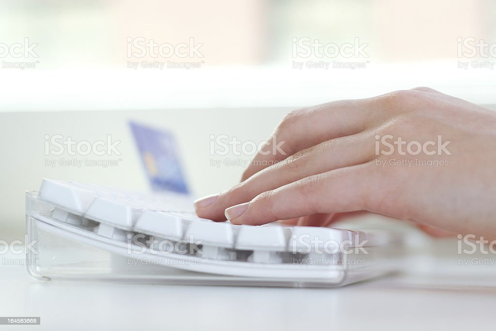 Woman hands typing on laptop royalty-free stock photo