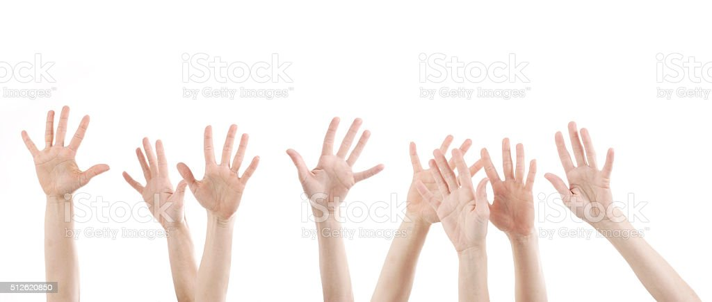 woman hands up with white stock photo
