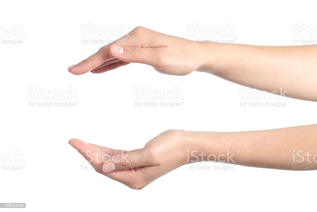 Woman hands with a protection gesture stock photo