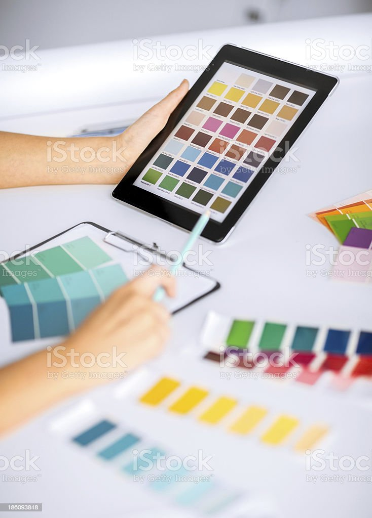 woman hands with color samples for selection royalty-free stock photo