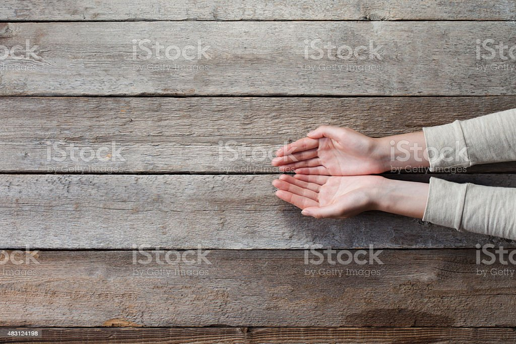 woman hands with open palms stock photo