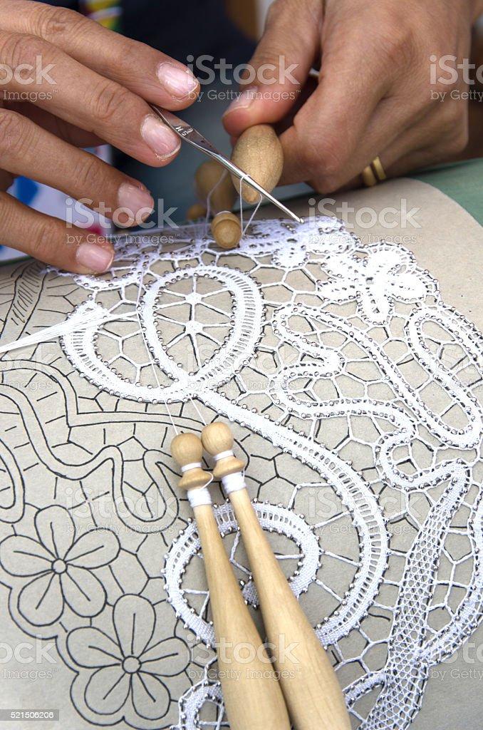 Woman - hands - work - bobbin stock photo