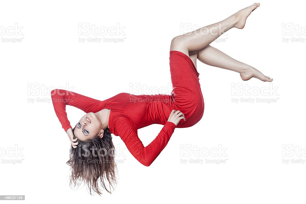 Woman hanging in the air. stock photo