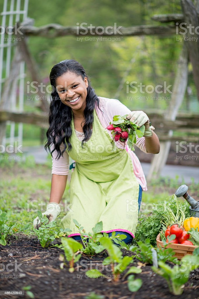 Woman Happily Holding Fresh Harvested Produce stock photo