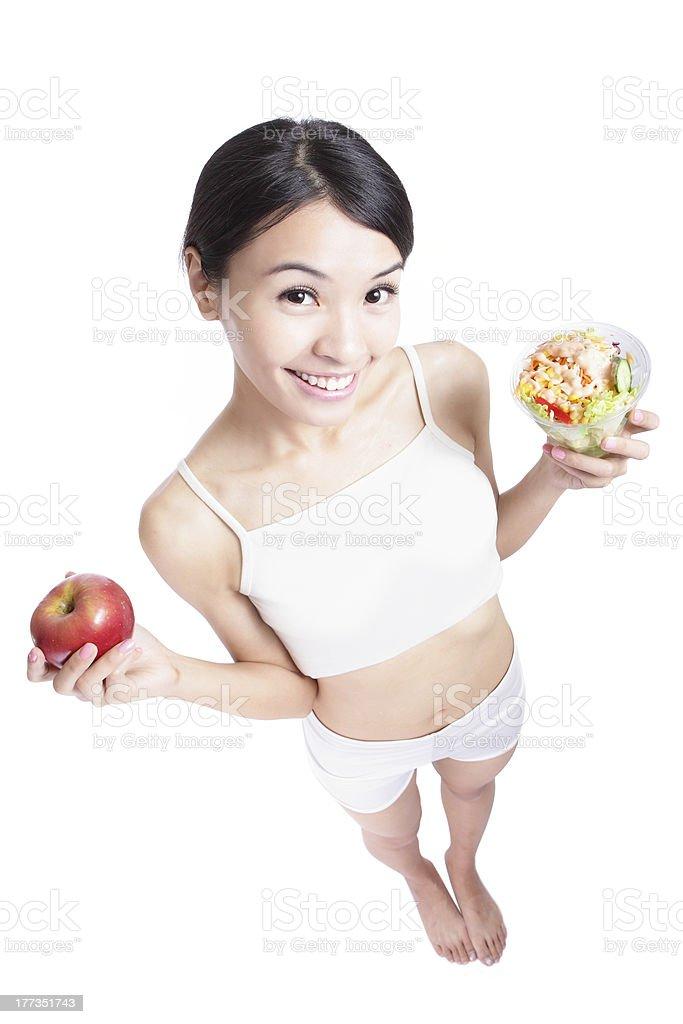 Woman happy eat salad full length royalty-free stock photo