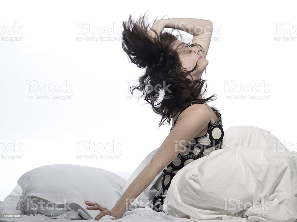 woman happy in bed awakening royalty-free stock photo