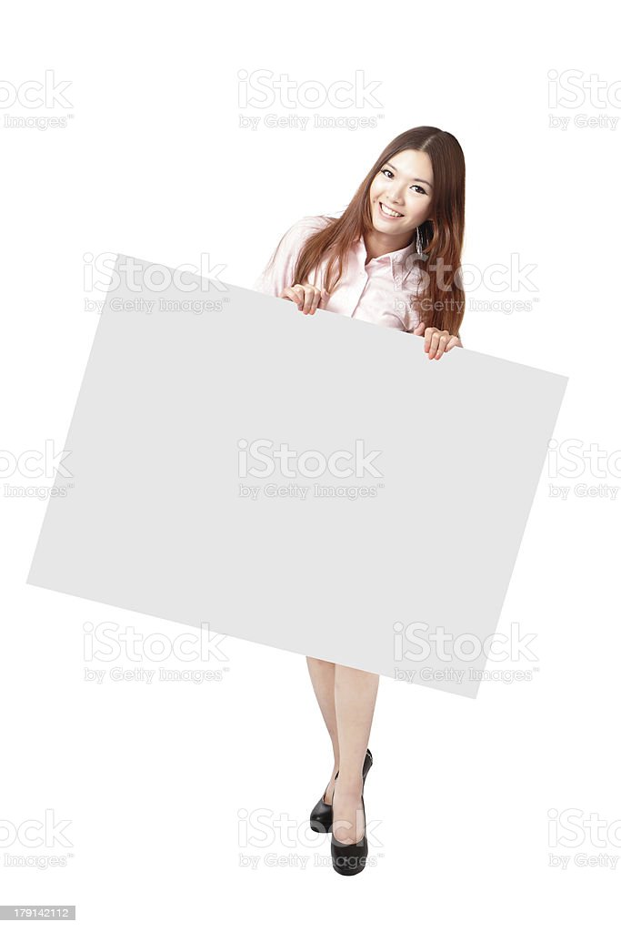 Woman Happy Smile Showing blank billboard royalty-free stock photo