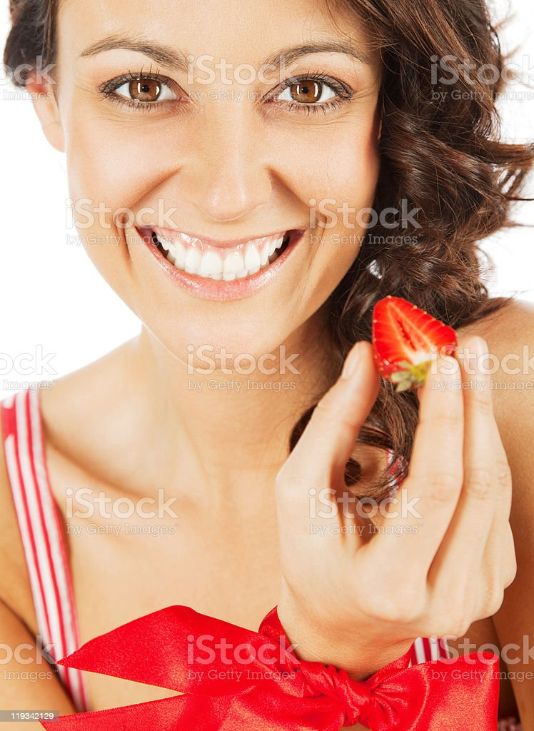 Woman happy strawberry royalty-free stock photo