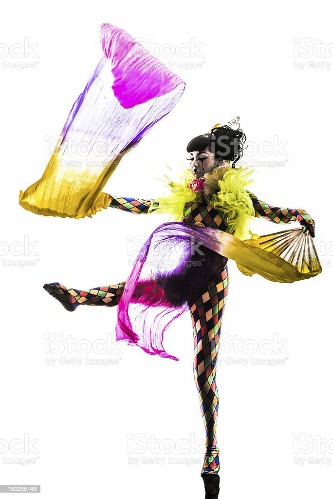 woman harlequin circus dancer performer  silhouette stock photo