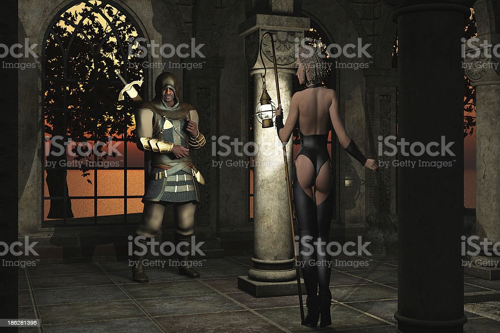Woman has clandestine meeting with assassin royalty-free stock photo