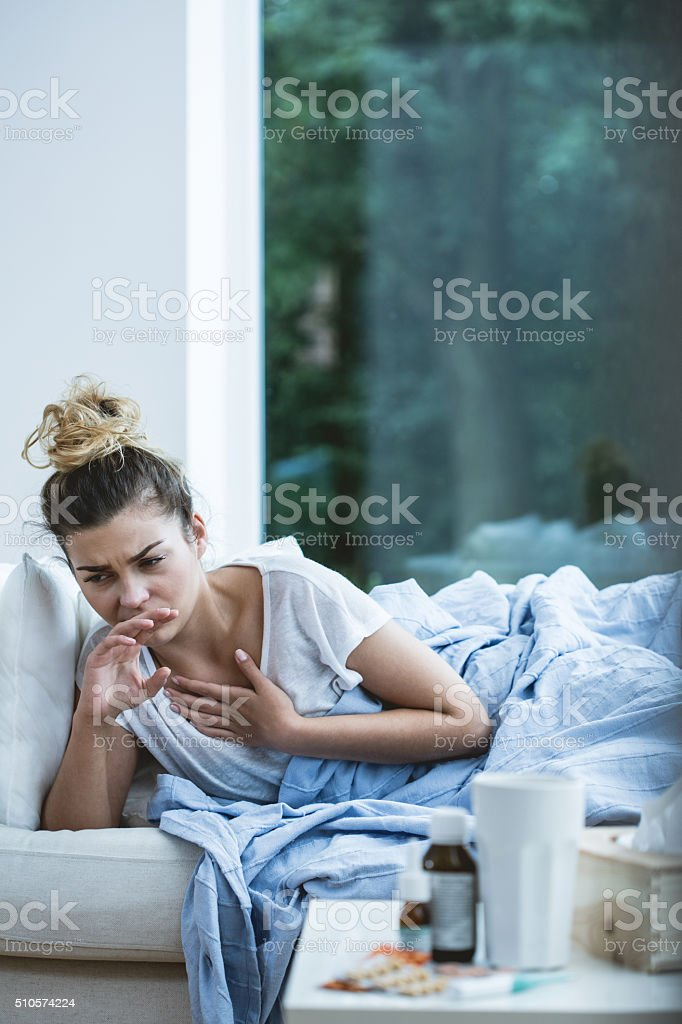 Woman has nausea stock photo