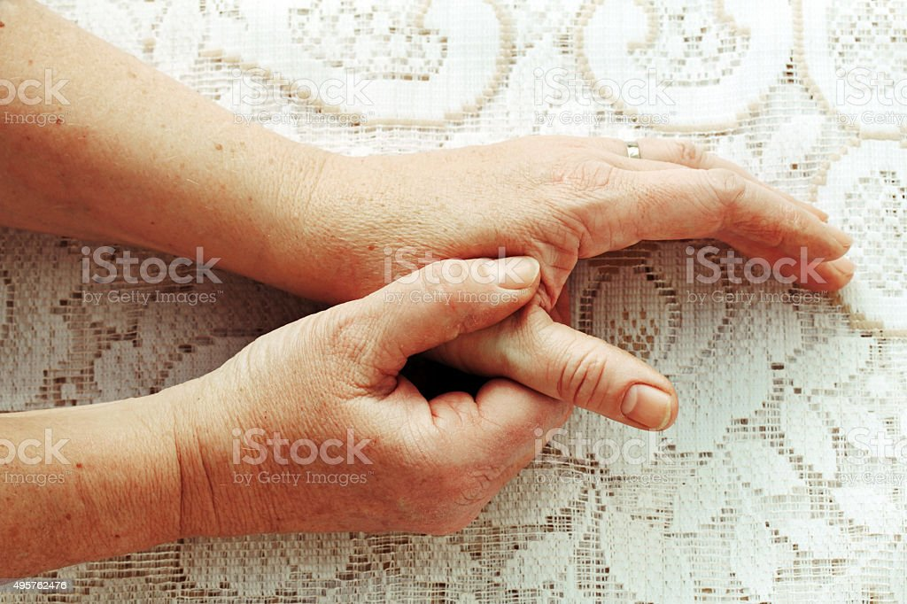 woman has pain stock photo