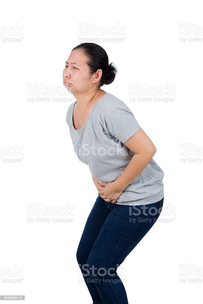 woman has stomach ache. stock photo