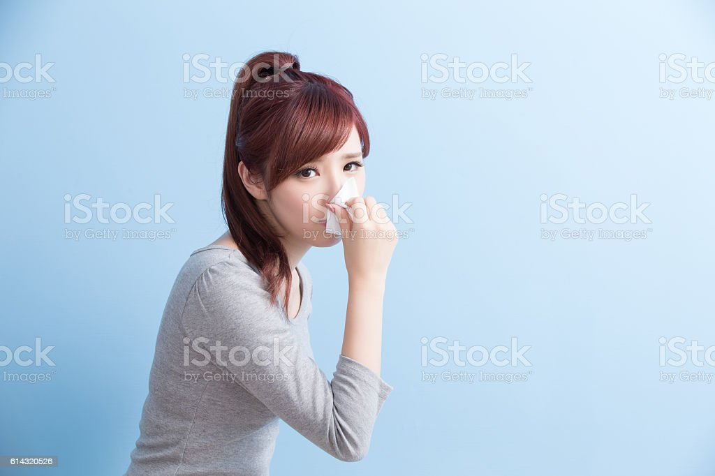 woman have a sick stock photo