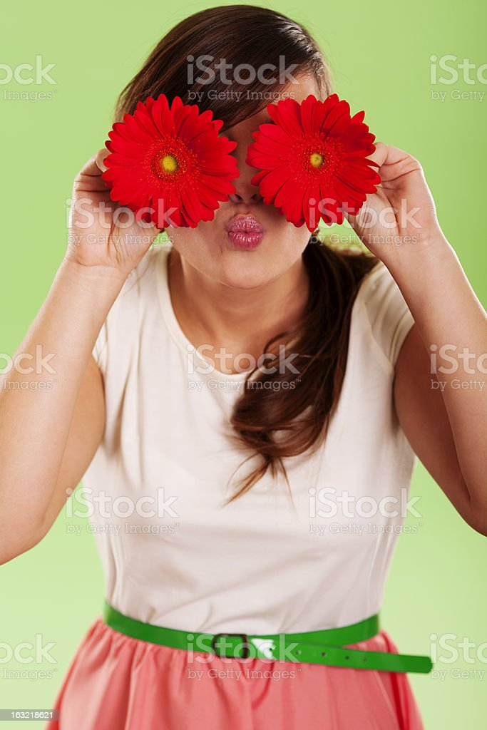 Woman have fun with spring flower royalty-free stock photo