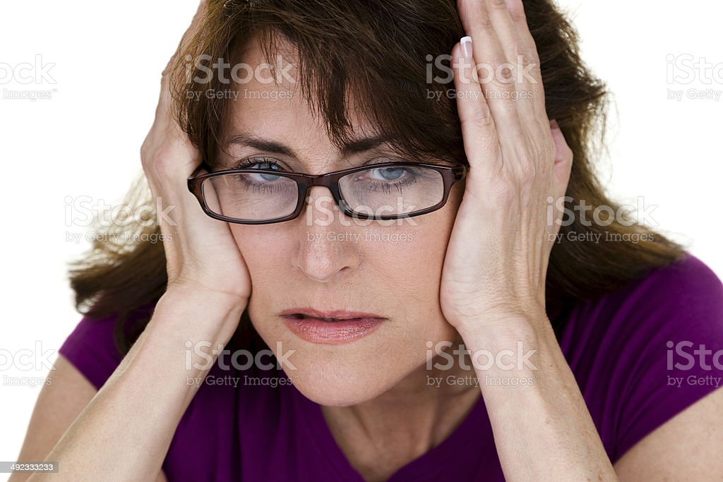 Woman having a bad day stock photo