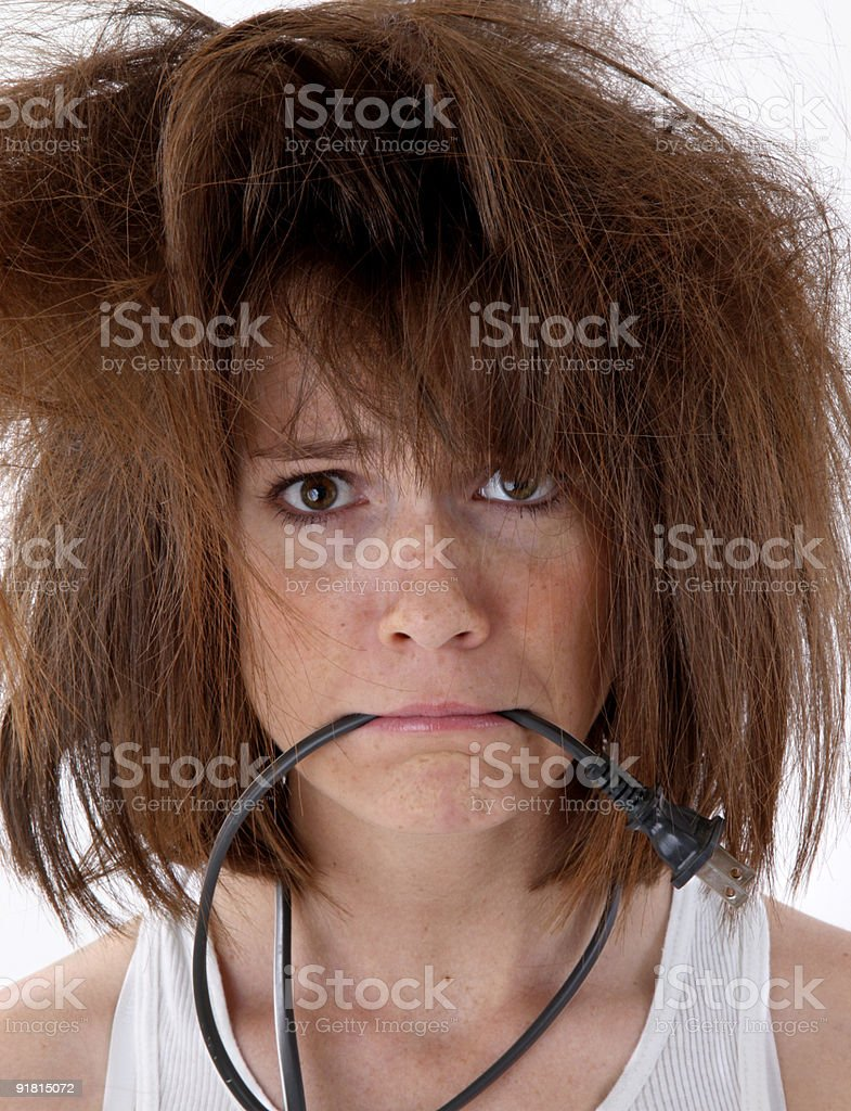 Woman having a bad hair day stock photo