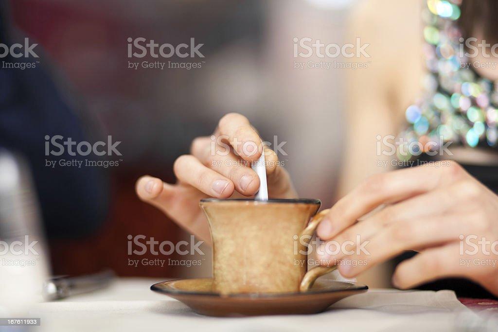 Woman having a coffee royalty-free stock photo