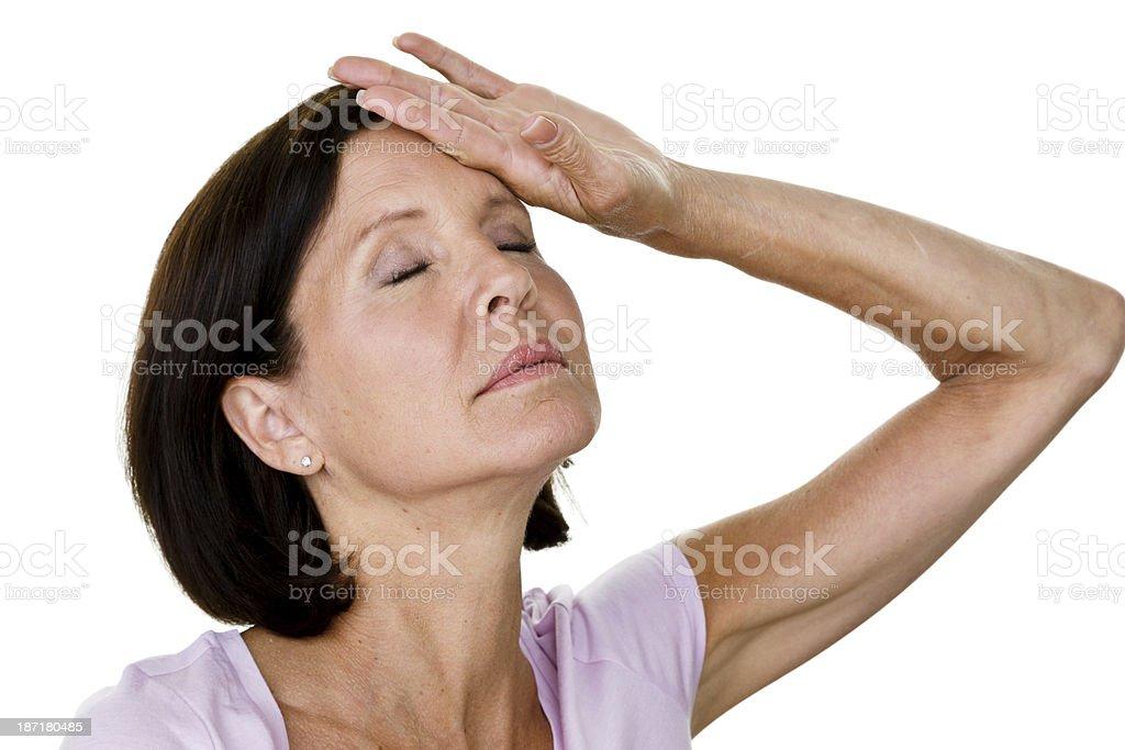 Woman having a hot flash royalty-free stock photo