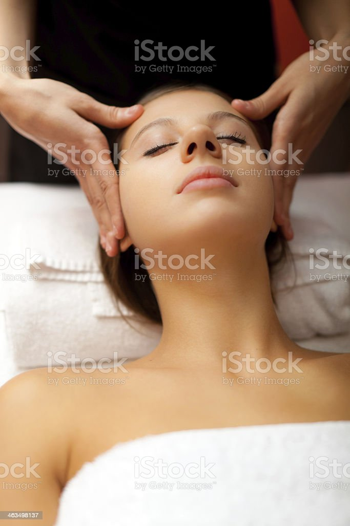 Woman having a massage stock photo
