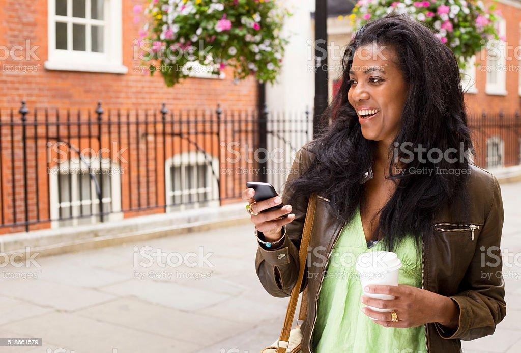 woman having a phone conversation royalty-free stock photo