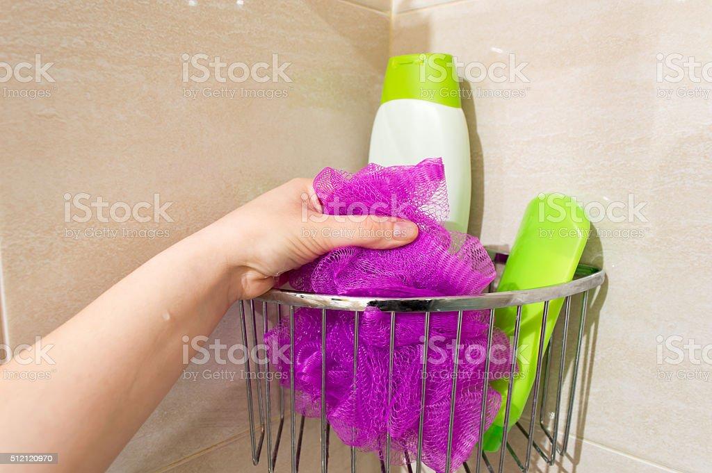 woman having a shower stock photo