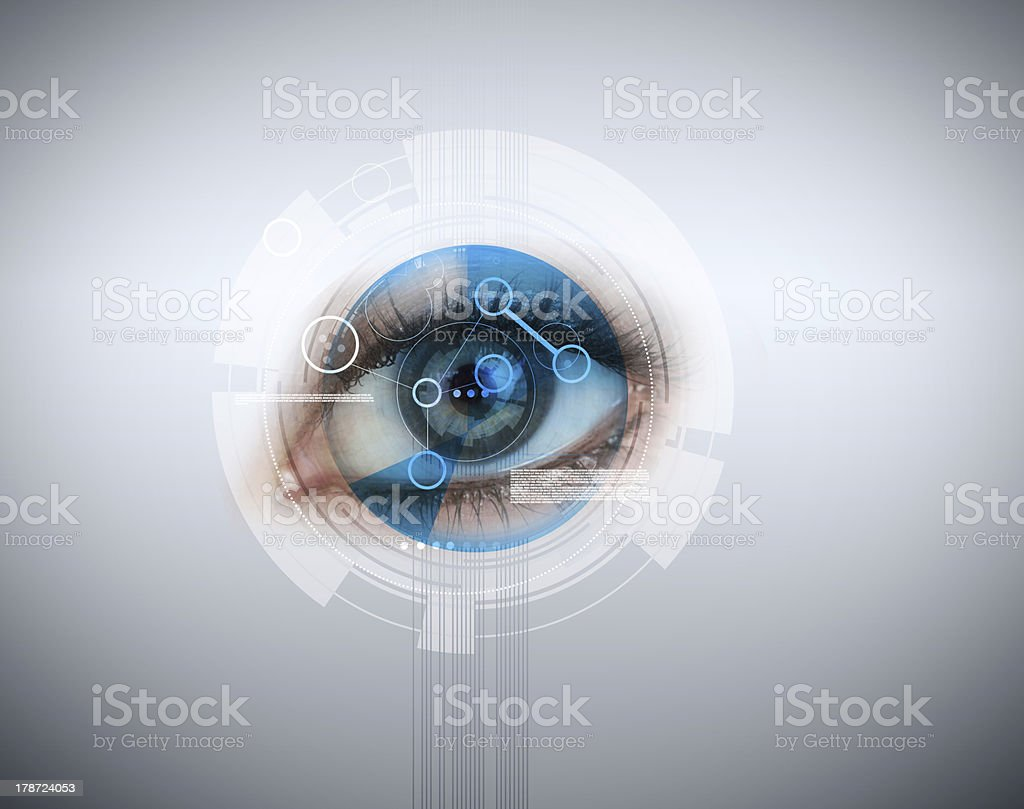 Woman having an eye recognition stock photo
