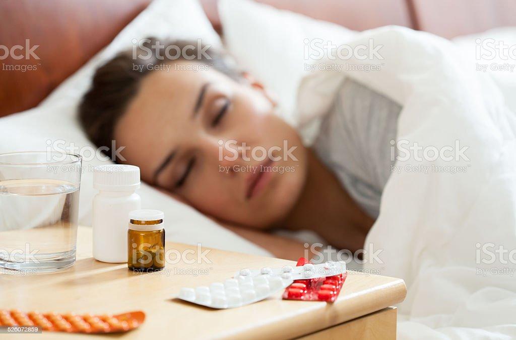 Woman having autumn flu stock photo