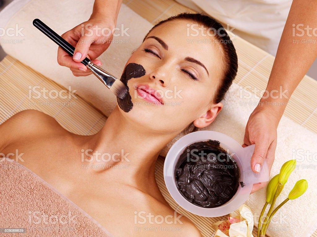woman having beauty treatments  in the spa salon stock photo