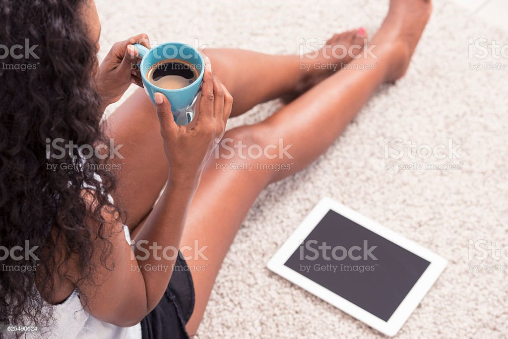 Woman having coffee break. stock photo