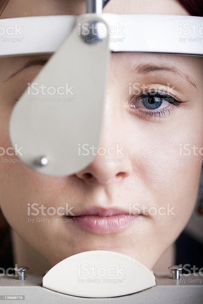 Woman having eye exam royalty-free stock photo
