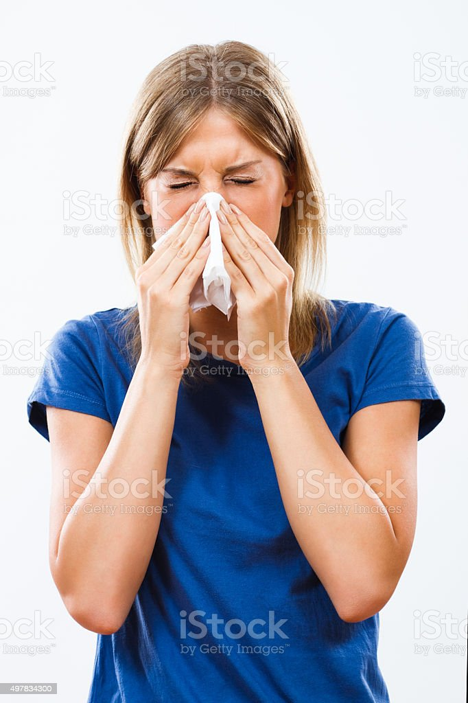 Woman having flu stock photo