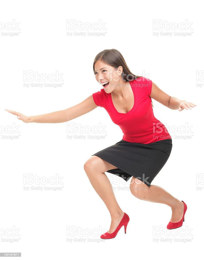 Woman having fun surfing royalty-free stock photo