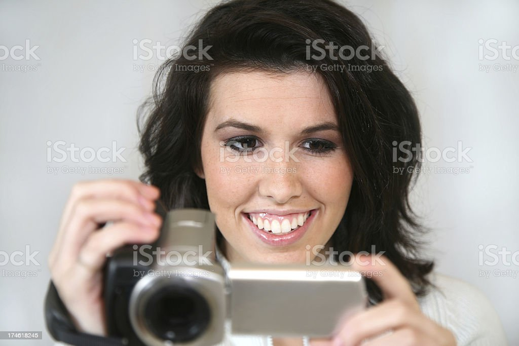 Woman Having Fun Videoing royalty-free stock photo