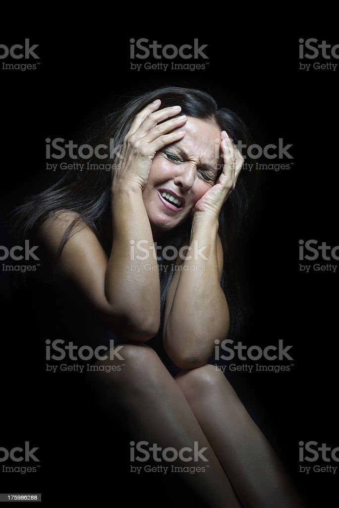 Woman having headache royalty-free stock photo
