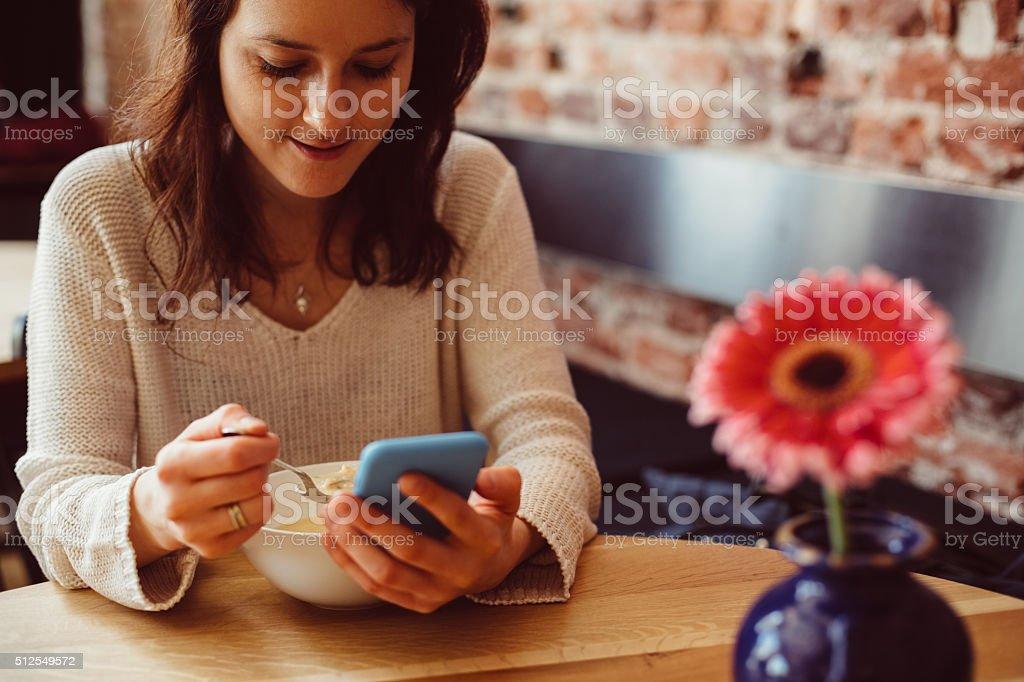 Woman having lunch break stock photo