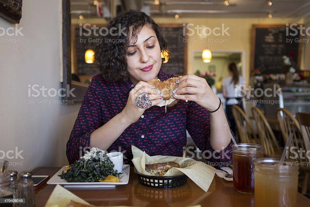 Woman Having Lunch stock photo