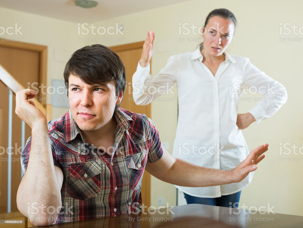Woman having problems with her husband stock photo