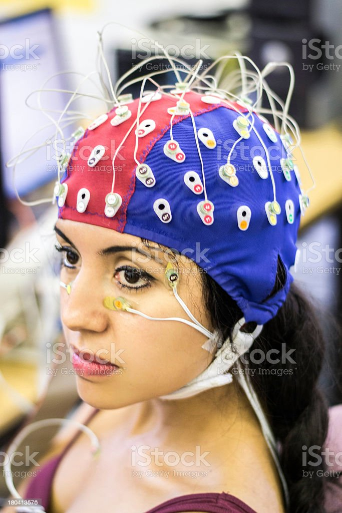 Woman having psychophysiological measurements taken stock photo