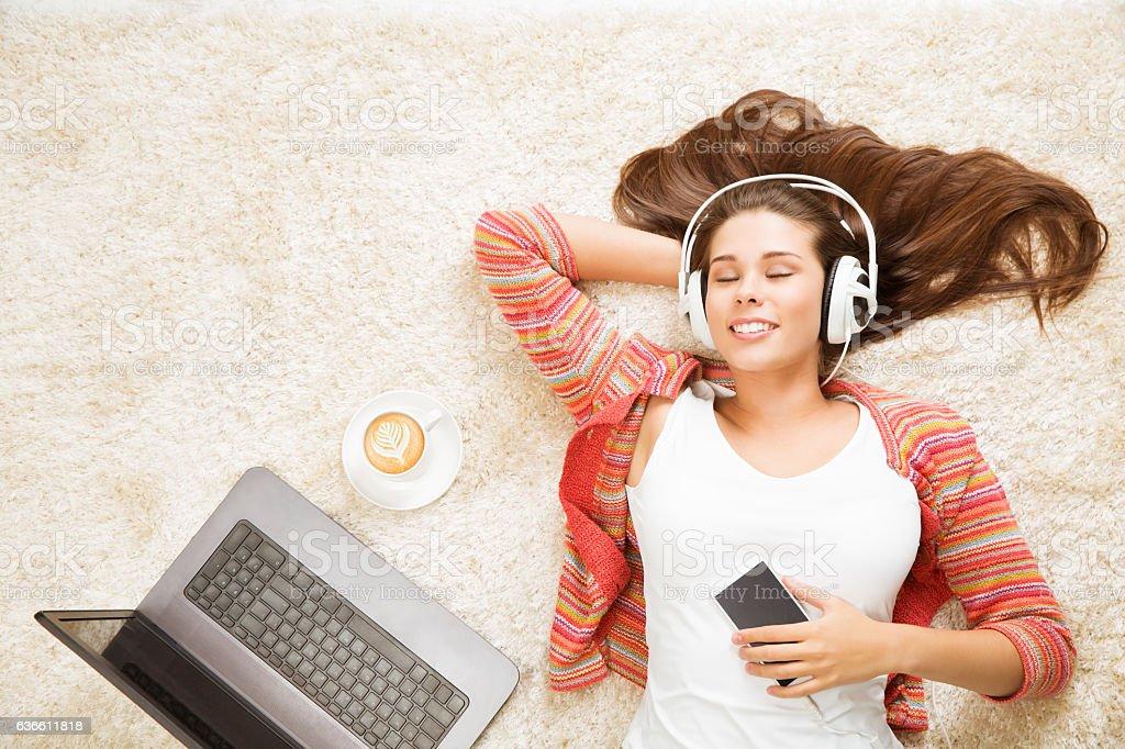 Woman Headphones Listening to Music, Girl Dreaming Mobile Smart Phone stock photo