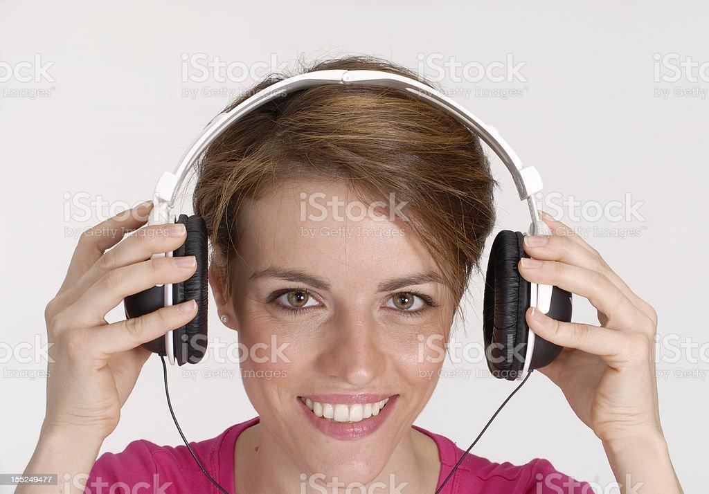 Woman headphones. stock photo