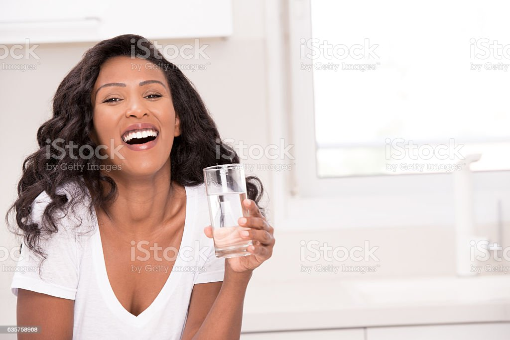 Woman healthy drinking. stock photo
